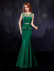 Mermaid / Trumpet Illusion Neckline Floor Length Chiffon Tulle Formal Evening Dress with Crystal Detailing Sash / Ribbon by Embroidered bridal