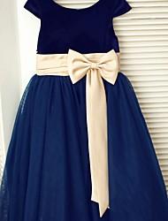 vestito da ragazza di fiore di lunghezza del tè a-linea - collo di velluto del tulle del tè da thstylee