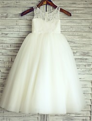 Princess Floor Length Flower Girl Dress - Lace Satin Tulle Sleeveless Scoop Neck with Lace by LAN TING BRIDE®