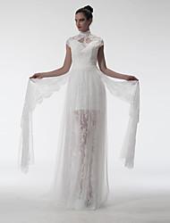 Tubinho Ilusão Decote Cauda Escova Renda Evento Formal Vestido com Apliques de A-Fu
