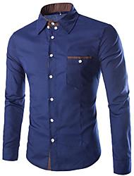 voordelige -Vintage/Informeel/Feest/Zakelijk MEN - Vrijetijds shirts (Katoen/Rayon)met Lange Mouw