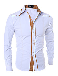 cheap -Men's Daily Work Casual Chinoiserie All Seasons Shirt,Color Block Shirt Collar Long Sleeve Cotton Opaque