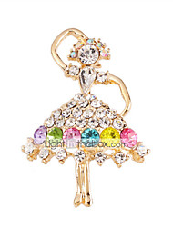 cheap -MISSING U  Diamonade  Gold Plated Gemstone & Crystal Zirconia Colorful Brooch