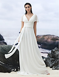 cheap -A-Line V Neck Court Train Georgette Custom Wedding Dresses with Beading Appliques Sash / Ribbon by LAN TING BRIDE®
