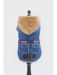 baratos -Cachorro Camisola com Capuz Jaquetas Jeans Roupas para Cães Jeans Azul Algodão Ocasiões Especiais Para animais de estimação