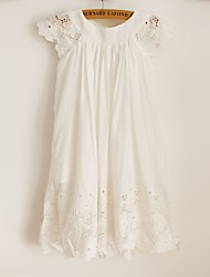 cheap -Sheath / Column Knee Length Flower Girl Dress - Cotton Lace Short Sleeves Scoop Neck with Lace by LAN TING BRIDE®
