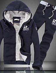 Men's Plus Size Sports Activewear Set Solid Cotton Long Sleeve