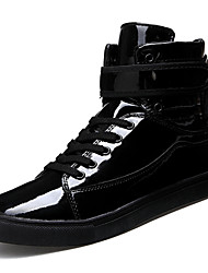 cheap -Men's Sneakers Comfort Spring Fall Leatherette Casual Office & Career Zipper Sliver Black White Gold Flat