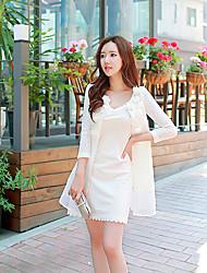 preiswerte -Damen Solide Trenchcoat,Herbst Rundhalsausschnitt Langarm Weiß Mittel Polyester / Elasthan