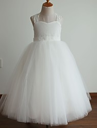 Princess Floor Length Flower Girl Dress - Tulle Sleeveless Halter with Bow by thstylee