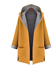 Women's Casual/Daily Simple Winter Fall Coat,Solid Hooded Long Sleeve Long Wool Others