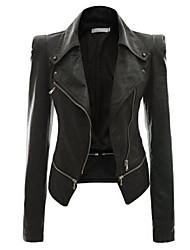 Недорогие -Для женщин На каждый день Весна Осень Кожаные куртки Лацкан с тупым углом,Уличный стиль Однотонный Короткая Длинный рукав,Полиуретановая