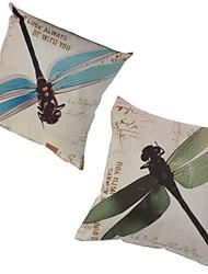 Set of 2 Blue&Green Dragonflies Pillowcase Sofa Home Decor Cushion Cover (17*17 inch)