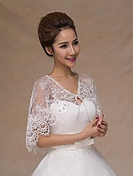 cheap -Sleeveless Lace Wedding Party Evening Casual Office & Career Wedding  Wraps With Rhinestone Capelets