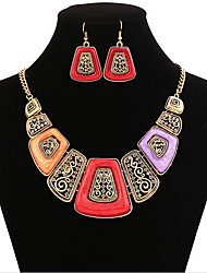 cheap -Jewelry Set Vintage Party Work European Cubic Zirconia Acrylic Gold Plated Alloy Geometric Necklace Earrings