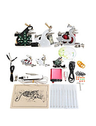 cheap -Professional Tattoo Kit 1 cast iron machine liner & shader 2 steel machine liner & shader 3 Tattoo Machine Inks Not Included