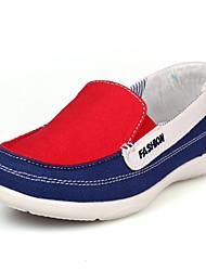 Kanvas-Mokkasin-Dame-Blå Grøn Rød-Kontor Fritid-Flad hæl