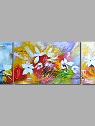 Hand-Painted Oil Painting on Canvas Wall Art Abstract Flowers Home Deco Three Panel Ready to Hang