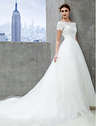 cheap -A-Line Off-the-shoulder Cathedral Train Lace Tulle Wedding Dress with Lace by LAN TING BRIDE®
