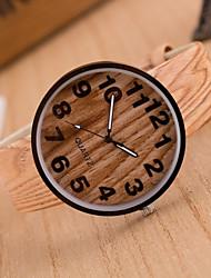 abordables -Mujer Cuarzo Reloj de Pulsera Gran venta Piel Banda Vintage Madera Moda Marrón Caqui