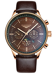 cheap -GUANQIN Men's Wrist Watch Quartz Japanese Quartz 100 m Water Resistant / Water Proof Calendar / date / day LED Leather Band Analog Vintage Black / Brown - Brown / Gold Silver-Blue White / Sliver