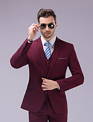 cheap -Men's Business Formal Slim Set Blazer-Solid Colored Solid Color,Modern Style Peaked Lapel / Long Sleeve / Work