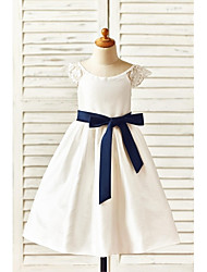 cheap -A-Line Tea Length Flower Girl Dress - Taffeta Short Sleeves Scoop Neck with Bow(s) Sash / Ribbon by LAN TING Express