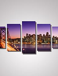 cheap -5 Panels San Francisco Bay Bridge Picture Print  Modern Wall Art on Canvas Unframed