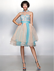 cheap -A-Line Jewel Neck Knee Length Organza Cocktail Party Prom Dress with Appliques by TS Couture®