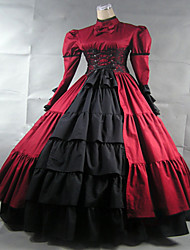 One-Piece Gothic Lolita Steampunk®/Victorian Cosplay Lolita Dress Red Vintage Long Sleeve Long Length Dress For Women Satin/Lace Ball Gown