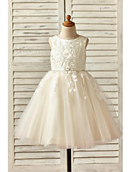 cheap -A-Line Knee Length Flower Girl Dress - Lace Tulle Sleeveless Scoop Neck with Beading Appliques by LAN TING BRIDE®