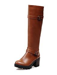 baratos -Feminino Sapatos Courino Outono Inverno Salto Robusto Botas Cano Alto Presilha Ziper Para Casual Social Preto Amarelo Vinho