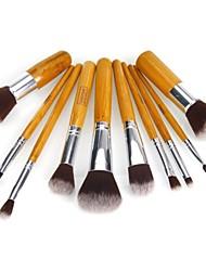 10pcs Natural Bamboo Makeup Brushes Foundation Blending Brush Tool Kabuki Set