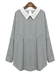 cheap -bucher Women's Patchwork Gray Tops & Blouses , Casual Shirt Collar Long Sleeve