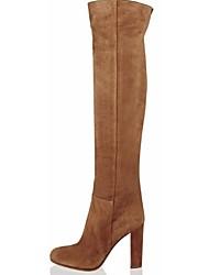 Feminino Sapatos Flanelado Primavera Outono Inverno Salto Grosso Botas Acima do Joelho Para Casual Social Marron