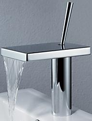 povoljno -Suvremena Središnje pozicionirane Waterfall Okretljive slavine Keramičke ventila One Hole Jedan Ručka jedna rupa Chrome, Kupaonica