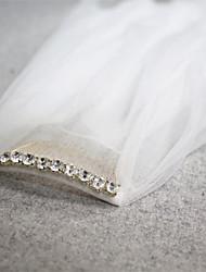 Duas Camadas Corte da borda Véus de Noiva Véu Ponta dos Dedos Com Strass 45,28 cm (115 centímetros) Tule