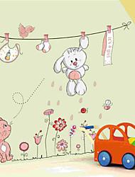 adorável coelho branco decoração avião varal adesivos de parede a parede, pvc removível