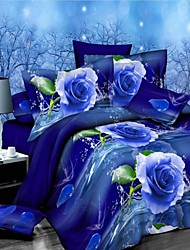 cheap -Duvet Cover Set, Blue flowers Suit Comfort Simple Modern Printed 3D Pattern 4 Pcs