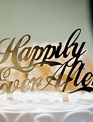 cheap -Mirror Surface Cake Topper Happily Ever After (2 color)