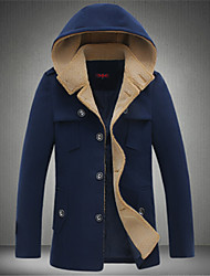 cheap -Men's Basic Coat-Solid Colored