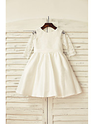 A-Line Knee Length Flower Girl Dress - Lace Taffeta 3/4 Length Sleeves Scoop Neck with Ribbon by thstylee