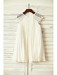 Mantel / Spalte Knie Länge Blume Mädchen Kleid - Chiffon kurzen Ärmeln Schaufel Hals mit Falten von thstylee