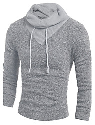 cheap -Men's Long Sleeves Pullover - Color Block Hooded