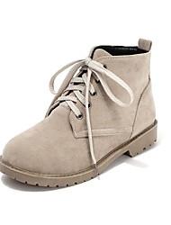 baratos -Mulheres Sapatos Courino Outono / Inverno Sem Salto 5.08-10.16 cm / Botas Curtas / Ankle Cadarço Bege / Marron / Vermelho