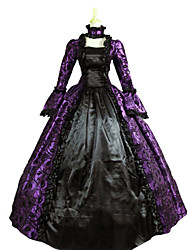 cheap Toys & Hobbies-Vintage Victorian Medieval Renaissance Costume Women's Dress Party Costume Masquerade Purple Vintage Cosplay Lace Satin Party Prom Long Sleeve Poet Sleeve Floor Length Long Length Ball Gown Plus Size
