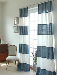 cheap -Rod Pocket Grommet Top Tab Top Double Pleat Two Panels Curtain Country Modern Neoclassical Mediterranean Designer , Print Stripe Living