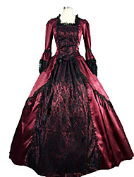 One-Piece/Dress Gothic Lolita Steampunk® Cosplay Lolita Dress Patchwork Long Sleeve Long Length Dress For Lace Satin