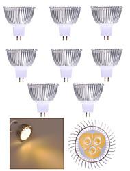 cheap -10pcs 3W 250lm MR16 LED Spotlight 3 LED Beads High Power LED Decorative Warm White / Cold White 12V
