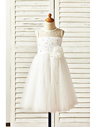 cheap -A-Line Tea Length Flower Girl Dress - Tulle Sleeveless Jewel Neck with Sash / Ribbon Flower by LAN TING Express